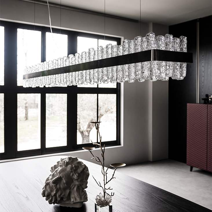Chandelier with  hand made glass and nickel by Cattelan Italia