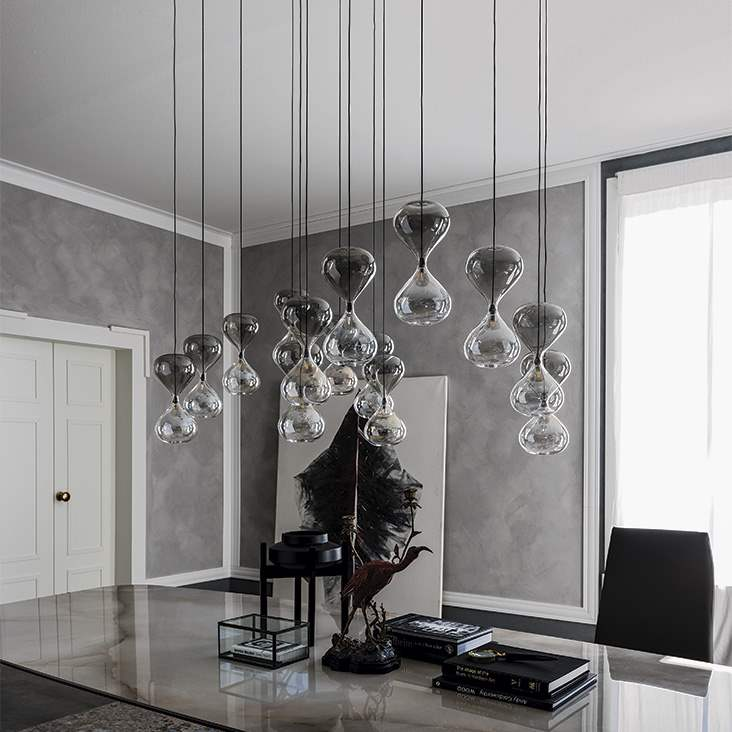 Sablier - Glass pendant  with free form shapes by Cattelan Italia