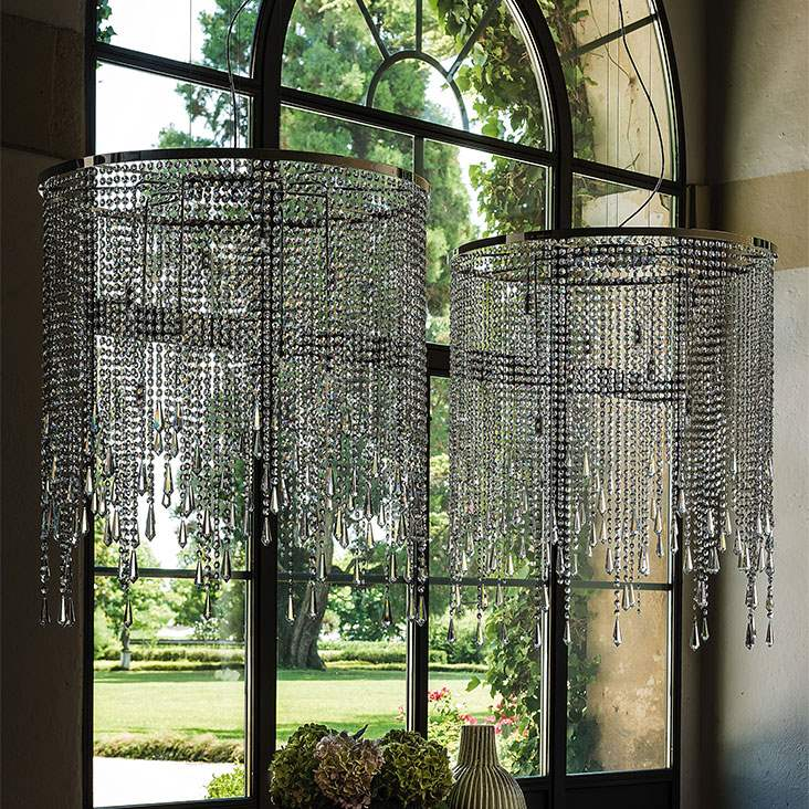 Chandelier with glass pendants and chrome by Cattelan Italia
