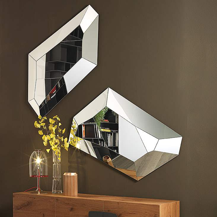 Modern mirror with free form shape with mirrored frame by Cattelan Italia