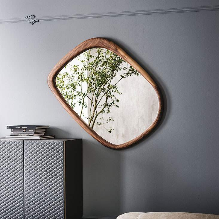 Janeiro - Modern Mirror with wood frame by Cattelan Italia