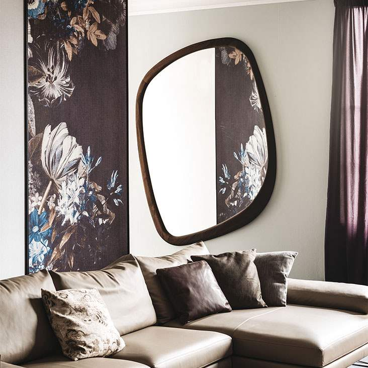 Mirror with  organic shape and wood frame by Cattelan Italia