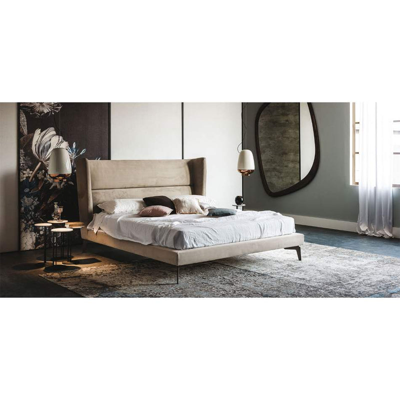 bedroom furnished with Italian furniture and mirror by Cattelan Italia