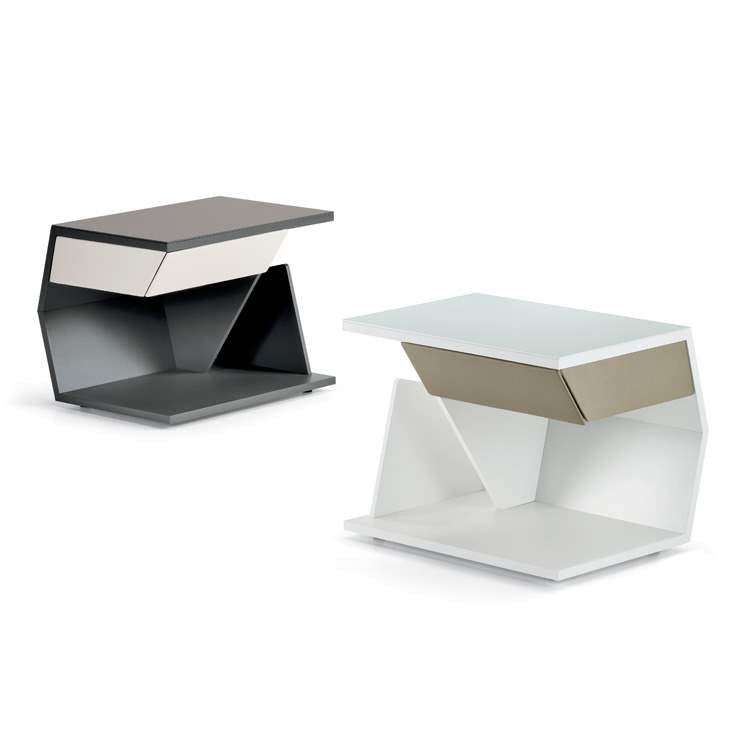Designer Italian nightstands in white and black