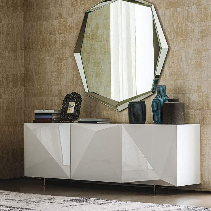 Italian sideboard with large mirror above it