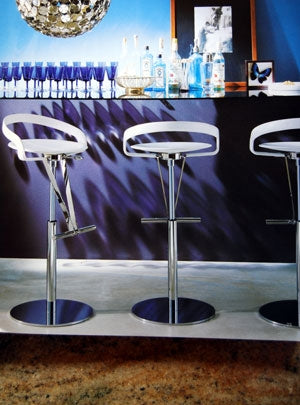 Cayman Piston Barstool - Modern  leather Barstool with luxury styling by Fasem