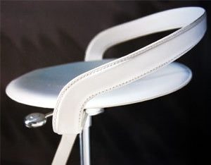 Cayman Piston Barstool in white leather