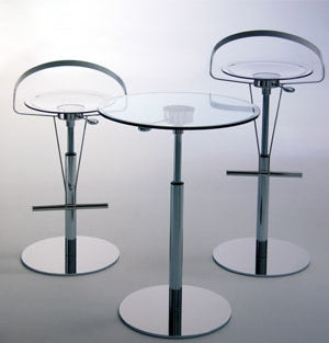 Cayman Piston Barstool  surrounding bar table