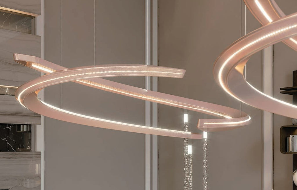 Speedform Chandelier - Chandelier with  sculptural shape designed by Pinifarina