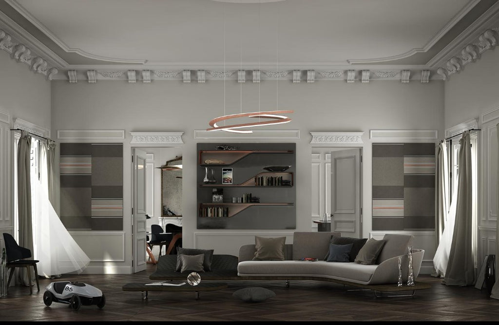 Room full of contemporary Italian furniture and Speedform Chandelier by Pininfarina