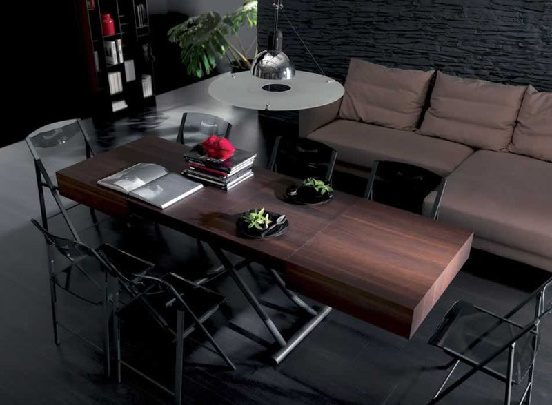 View of Box Legno T111 coffee table turned into dining table by Ozzio