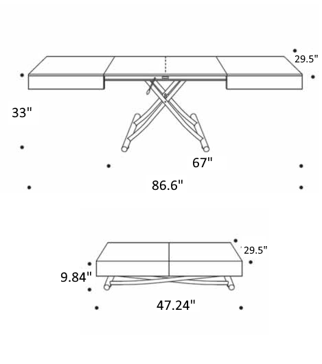 Measurements of Box Legno T111 coffee table by Ozzio