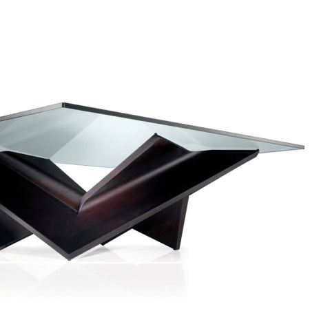 Glass and wood Italian coffee table