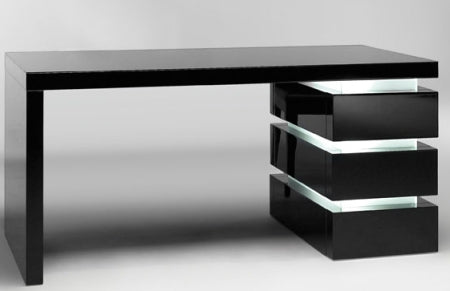 Luce Scrivania - wood and frosted glass executive desk made in Italy