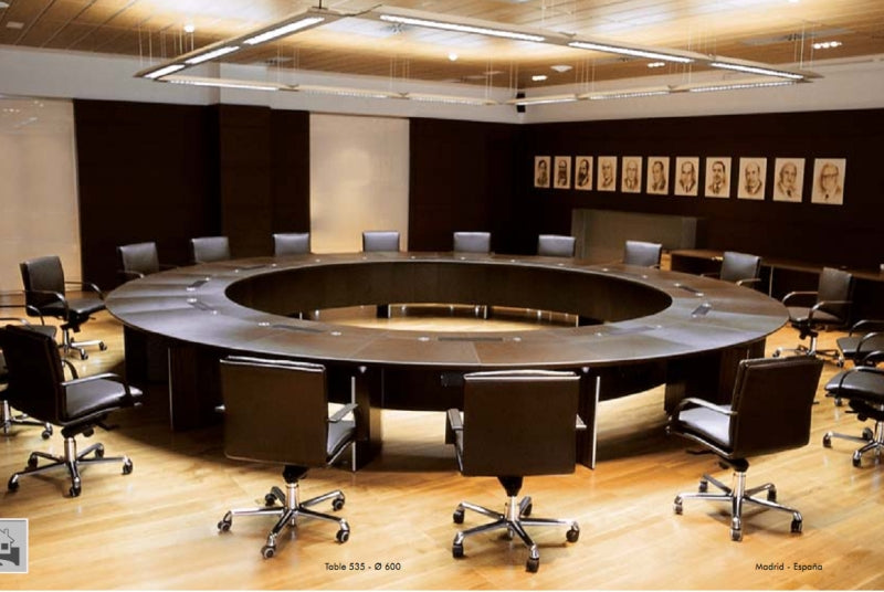Verona Conference Table with brown leather top