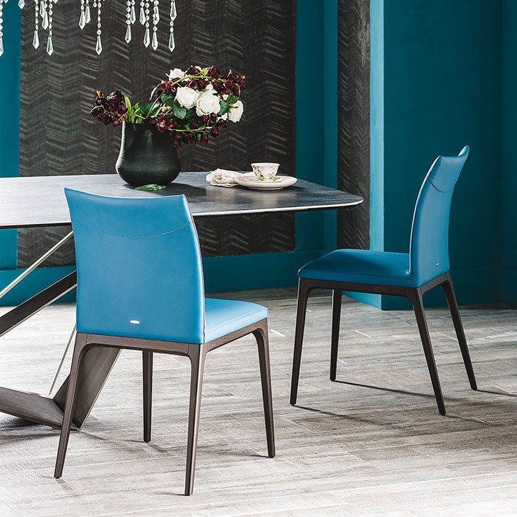 Baby Blue Leather Arcadia Chair designed by Cattelan