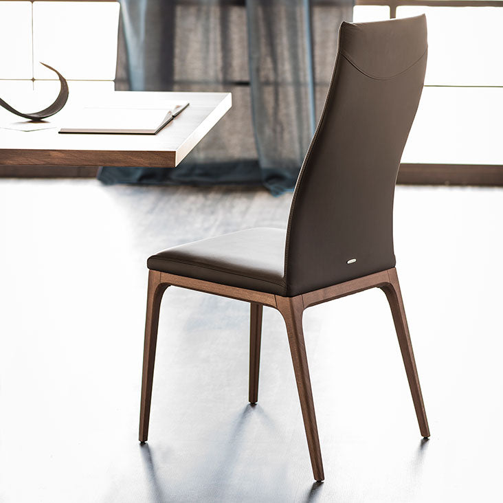 Back View of Tall Leather Arcadia dining room chair designed by Cattelan