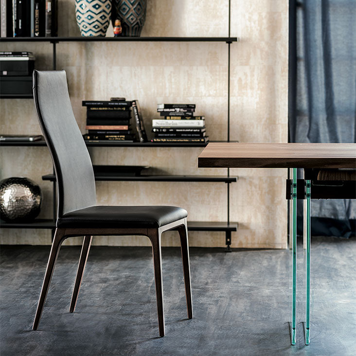 Side View of Black Leather Tall Height Arcadia Dining Chair designed by Cattelan