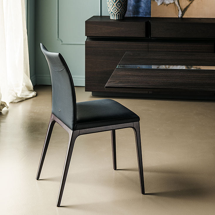 Side View of Black Leather Arcadia Chair designed by Cattelan