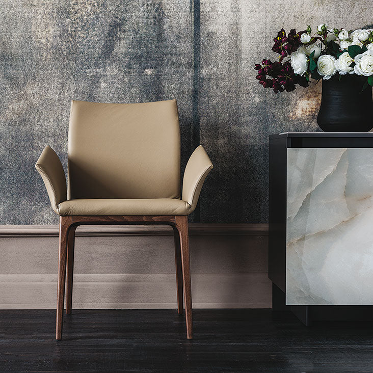 View of  Beige Leather Arcadia Chair designed by Cattelan