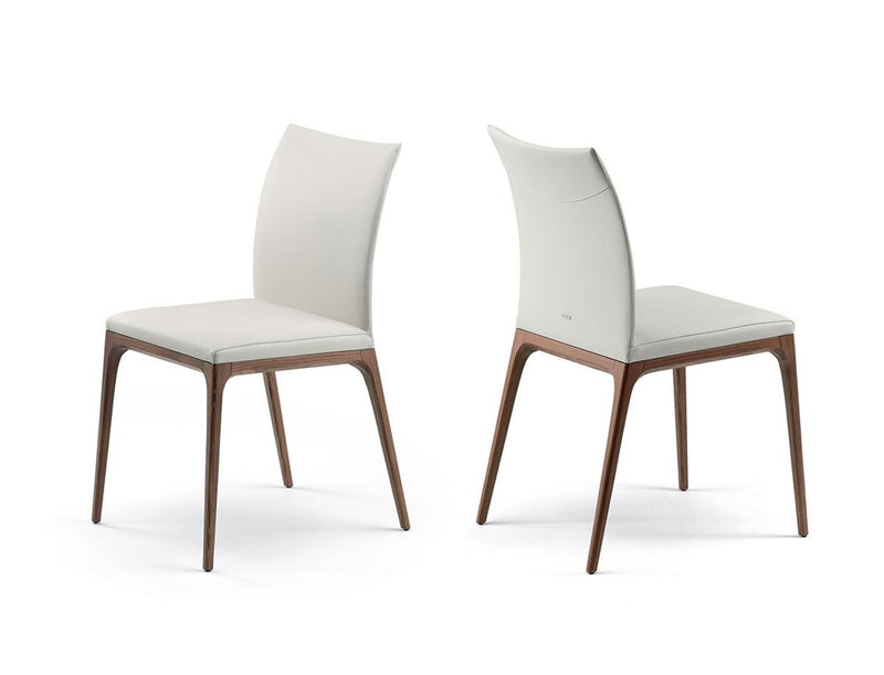 Front and Back view ofWhite Leather Arcadia Chair designed by Cattelan