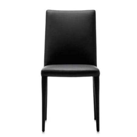 Black leather: Bella Side dining chair in leather by Frag