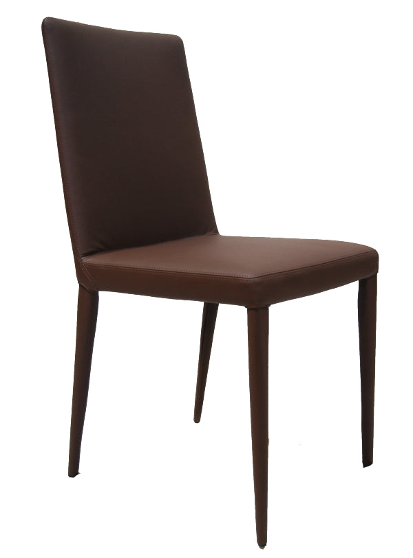 front View of The Bella Side dining chair in chocolate leather by Frag