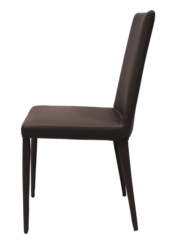 Side view of The Bella Side dining chair in chocolate leather by Frag