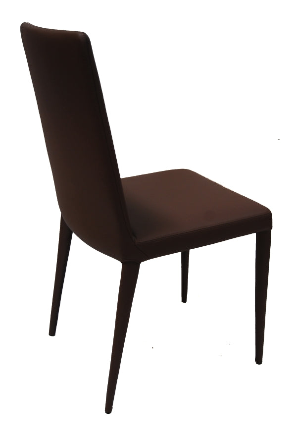 Chocolate Leather Chair: The Bella Side dining chair in leather by Frag