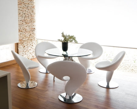 dining table surrounded by designer Italian dining chairs