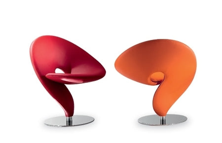 Question Mark Chairs in red and orange leather