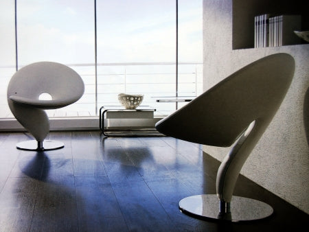 White leather luxury dining chairs made in Italy by Tonon