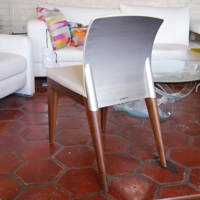 White chair on tiled floor