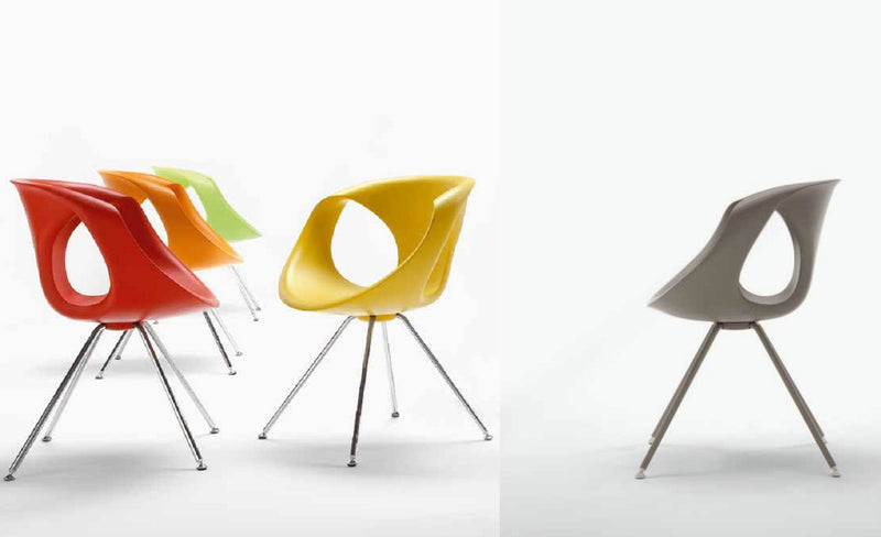 Up-Chair 907 - modern dining chairs in red orange, green, yellow, and grey