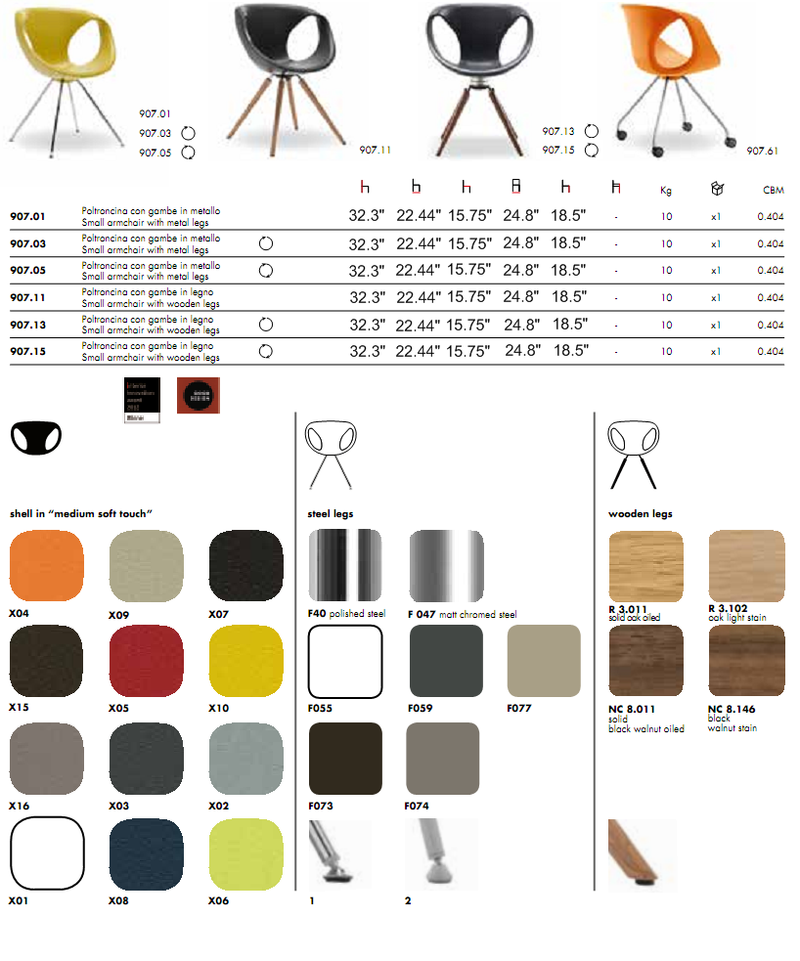 Up-Chair 907 product spec sheet 1