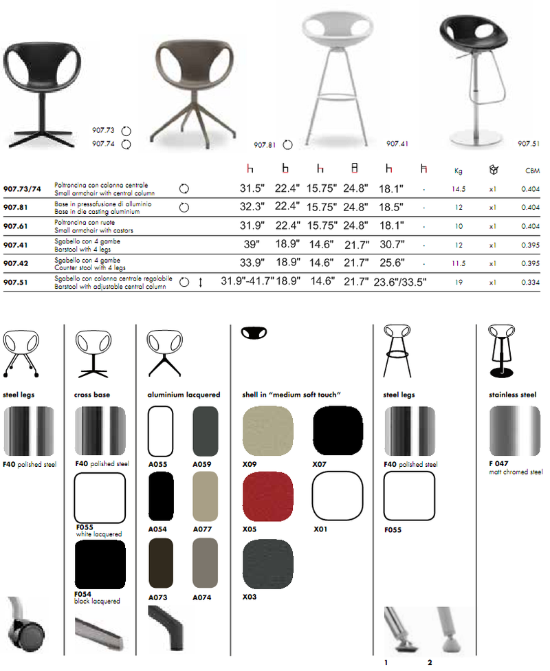 Up-Chair 907 product spec sheet 2