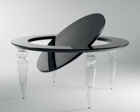 Poker Dining Table - Luxury poker table with Murano clear glass legs