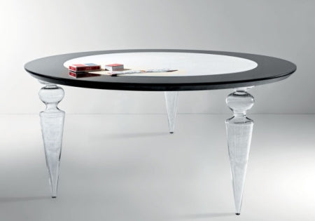 Poker Dining Table - poker table with lazy Susan center and clear glass legs