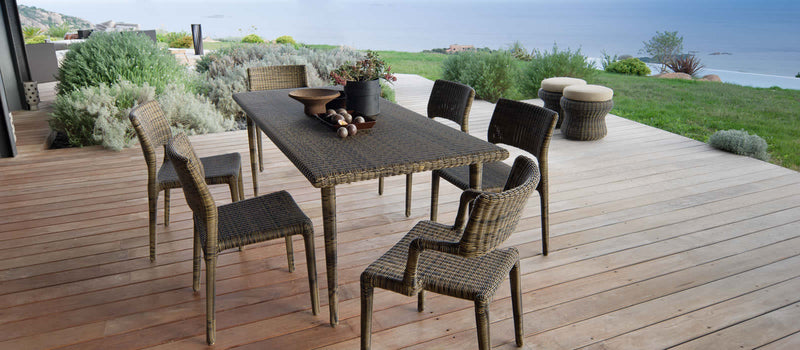 Wooden patio with outdoor dining table made in Italy