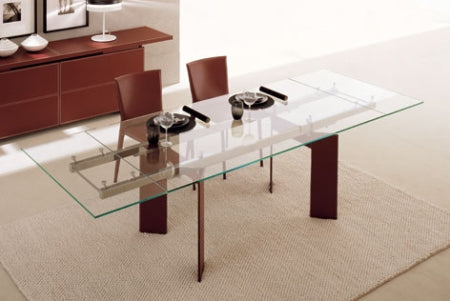 Elan Expandable Dining Table - modern glass topped dining table