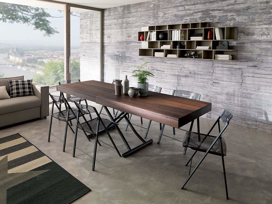 Newood Table - coffee table transforms to dining table by Ozzio Italia