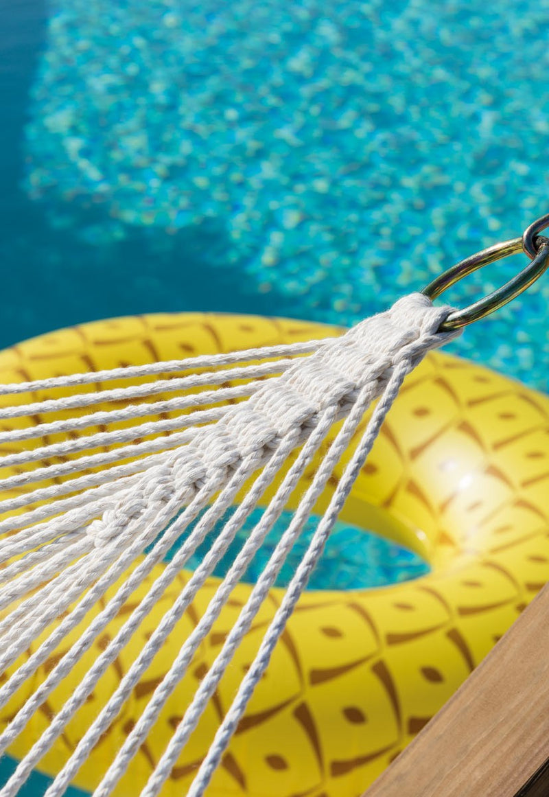 hammock netting with pool and inner-tube behind it