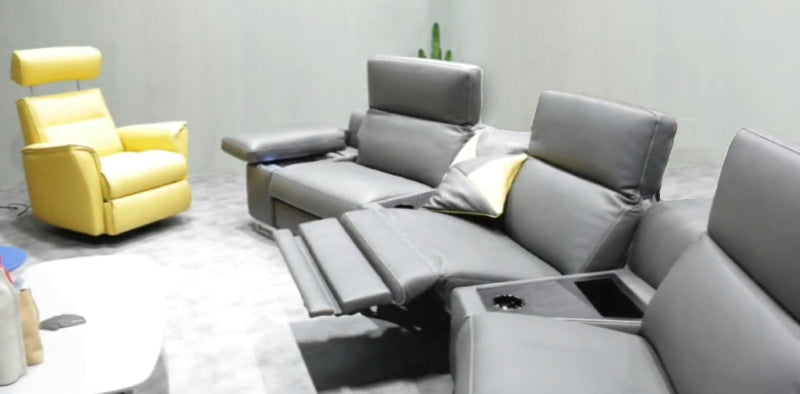 Home Theater 4D Recliner in grey leather
