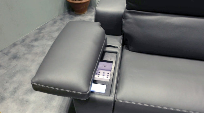 close view of reclining sofa controls