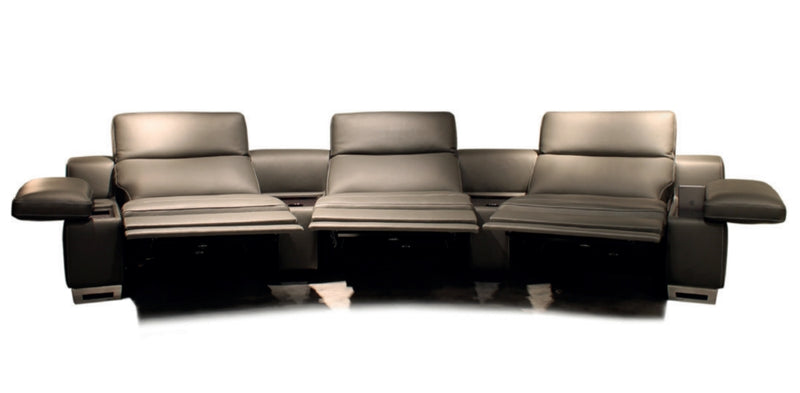 Home Theater 4D Recliner - brown leather Italian reclining theater sofa