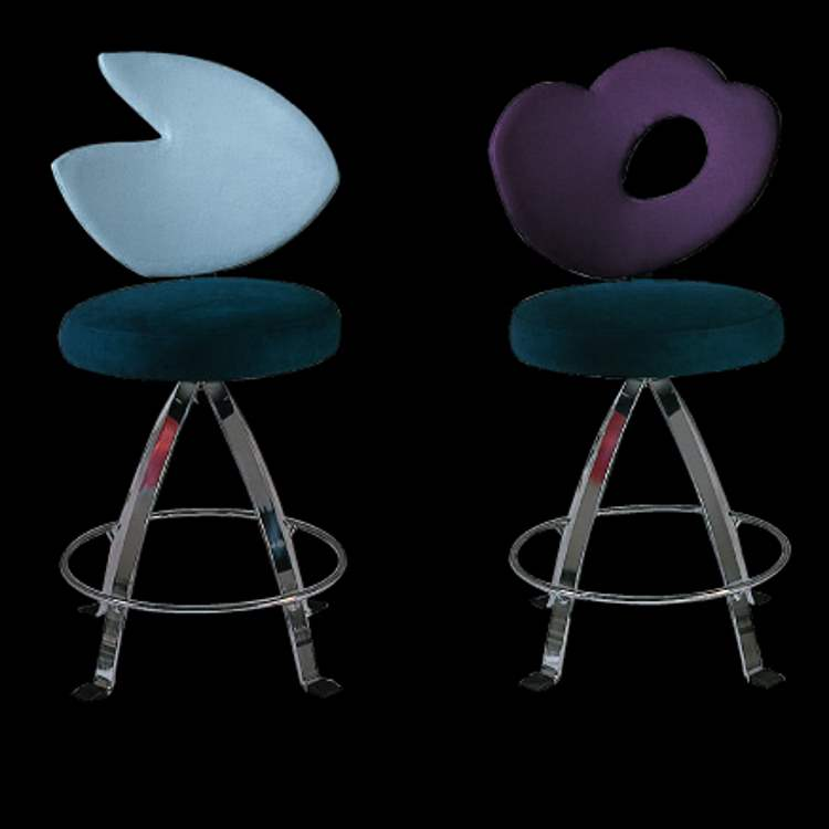 Il Loft bar stools in blue and purple