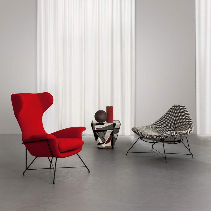 red and grey designer Italian chairs