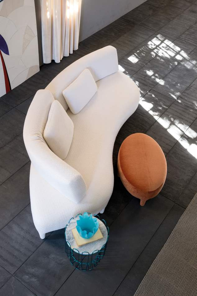 overhead view of white Delta Sagomato sofa