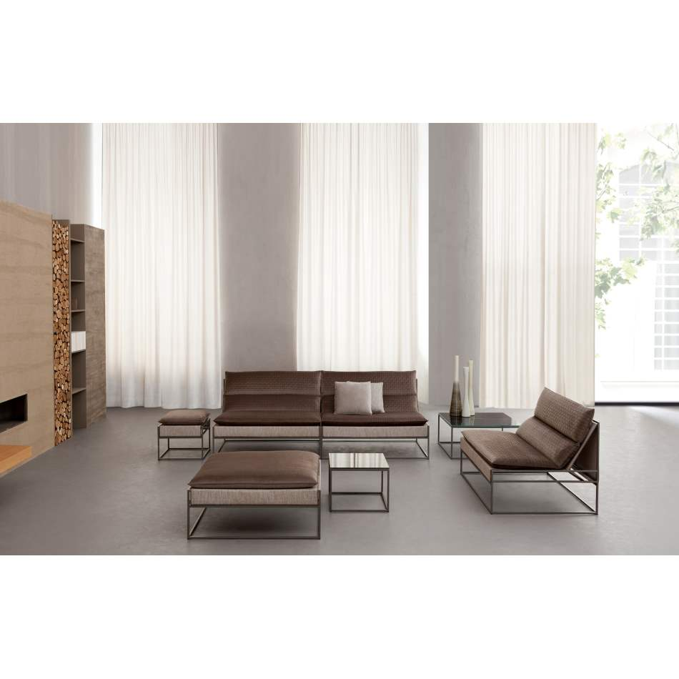 Side view of a luxury Italian room with High end  sofa with modern styling by Il Loft made in  Italy