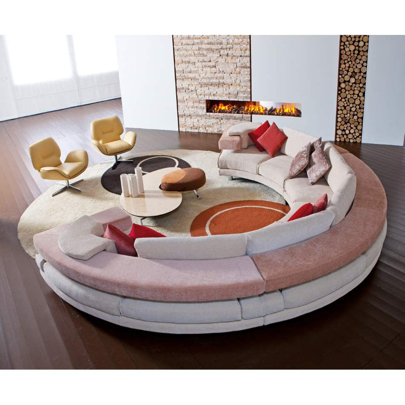 Luxury pink semicircular sofa made in Italy by ll Loft
